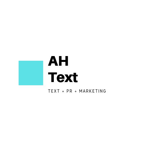 Türkisfarbenes Quadrat mit schwarzen Schriftzug AH Text Text PR Marketing